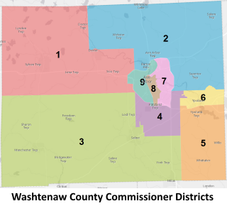 Washtenaw County Commissioner Districts map